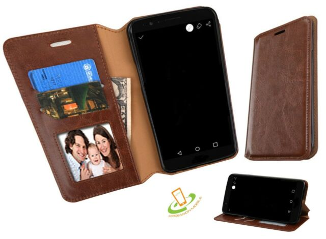 the best attitude 73025 e8a7f Brown Leather Flip Wallet Case Cover Stand for ZTE Sequoia / Blade Z Max  Z982
