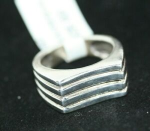 New-Modernist-Mexican-Real-Sterling-Silver-Striped-Row-Men-039-s-Women-039-s-Ring-Sz-6-5