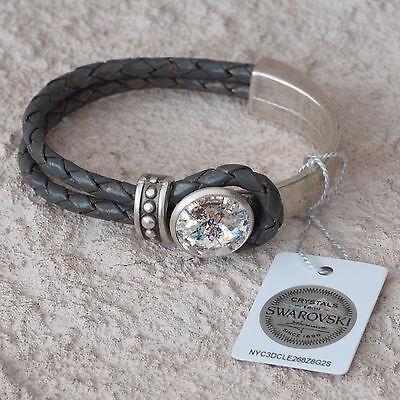 Neu Echt Leder Armband Mit 14mm Swarovski Stein White Patina/weiß Lederarmband Seien Sie In Geldangelegenheiten Schlau