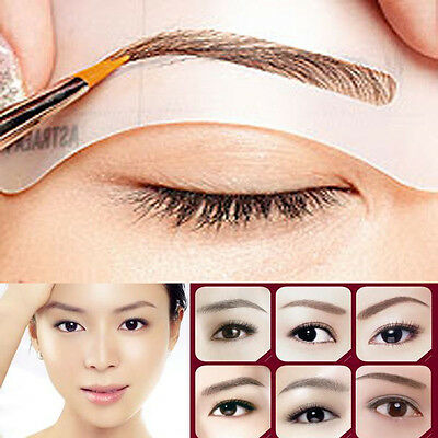 4X Eyebrow Stencils Shaping  Brow Set Template Reusable Makeup Design