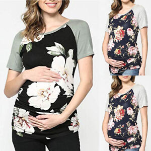 Summer-Pregnant-Women-Maternity-Clothes-Floral-Top-Short-Sleeve-T-Shirt-Blouse