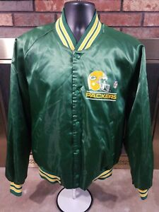 Green-Bay-Packers-Vintage-Satin-Snap-Jacket-Chalk-Line-Mens-Size-XL-NFL-Football