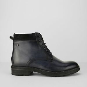 bc34ec14166 Details about Base London PANZER Mens Washed Leather High Grip Lace Up  Comfy Work Boots Blue