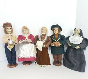 "Vintage Victorian Christmas Carolers Figurines Set of 5 Holiday Xmas 12"" Dolls"