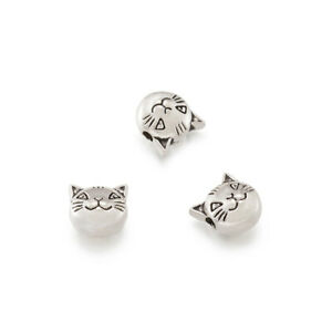 20-Tibetan-Alloy-Cat-Metal-Beads-Carved-Antique-Silver-Cute-Loose-Spacers-8x8mm