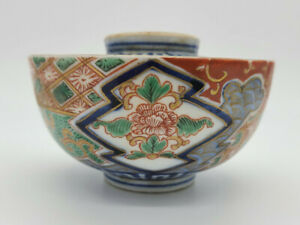 Nicely-Painted-Antique-19th-Century-Japanese-Imari-Lidded-Bowl-Great-Condition