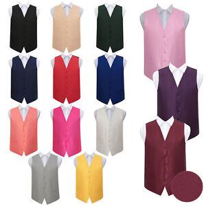 Woven-Plaids-Plain-Solid-Check-Formal-Casual-Mens-Boys-Wedding-Waistcoat-22-034-50-034