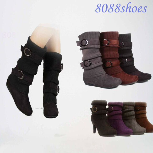 Women's S Fashion weather Top Low Heel Ankle Mid-Calf Boot Shoes 4 Colors 5-10