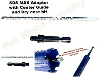 "2/'/' /& 2 1//2/"" Dry Diamond Core Bit w// SDS MAX Adapter /& Center Guide 1 1//2/'/'"