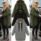 New Women Casual Oversized Hoodies Long Sweatshirt Hoody Zip Jacket Coat Sweater