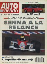 AUTO HEBDO n°738 du 1er Août 1990 GP ALLEMAGNE HONDA NSX