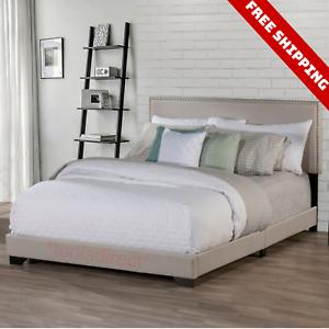Queen Size Bed Frame Upholstered Headboard Platform Wood Frame Slats Bedroom