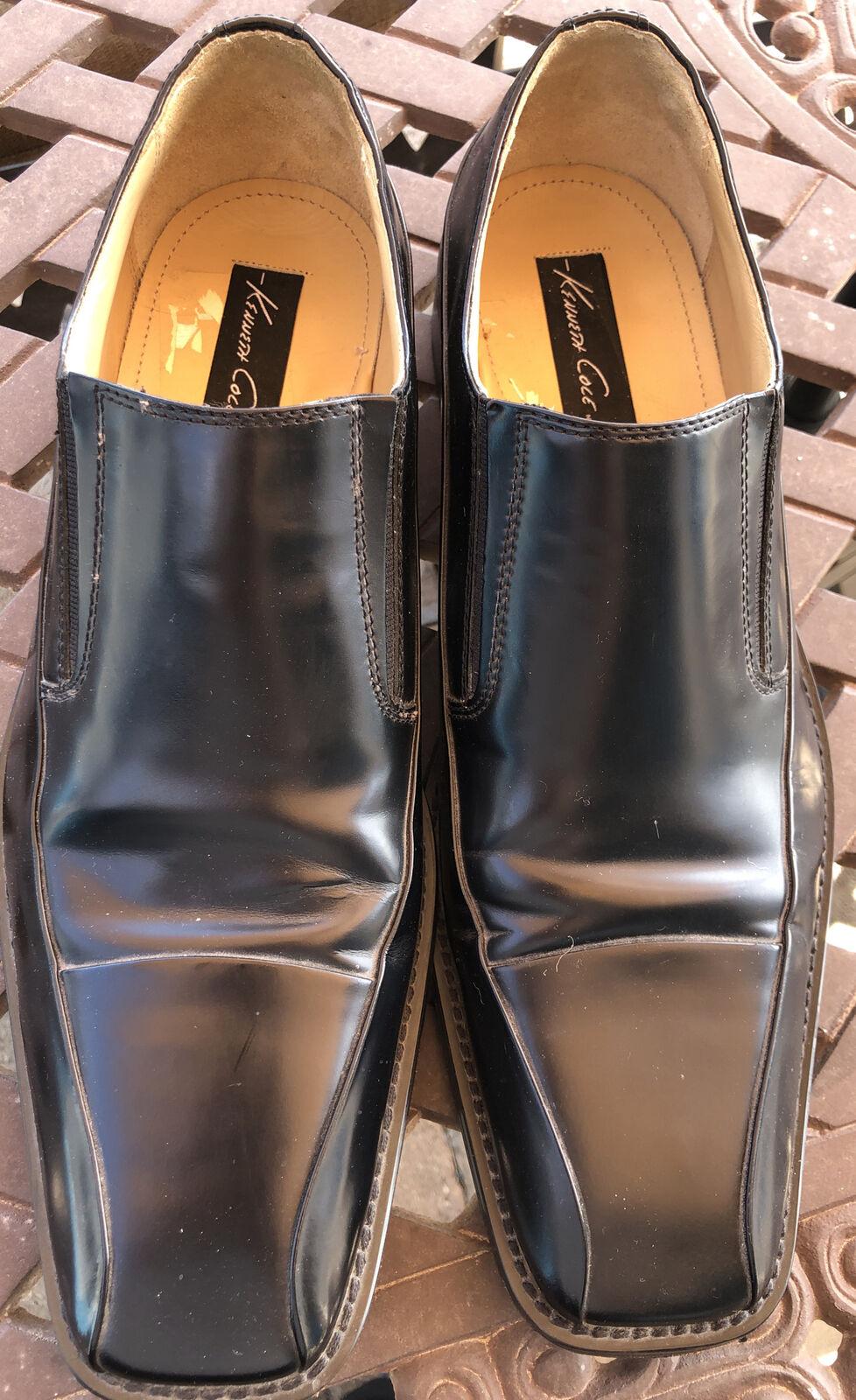 Kenneth Cole Black Dress Loafers Mens Size 13 Slip On Square Toe