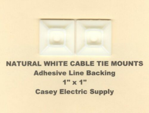 """25 1/"""" x 1/"""" Inch Cable Tie Mounts NATURAL WHITE Nylon w//Adhesive Backing MADE USA"""
