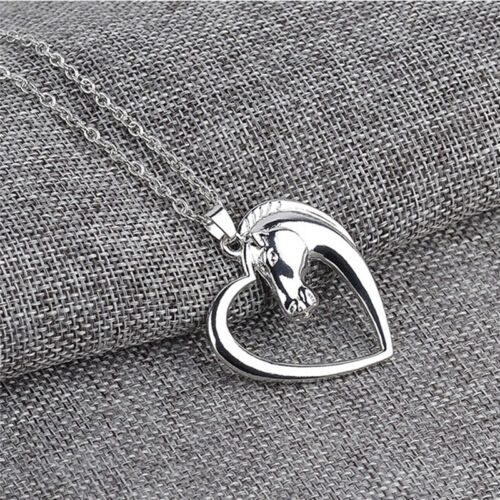 Fashion New Jewelry Plated White K Horse In Heart Necklace Pendant Necklace ZY