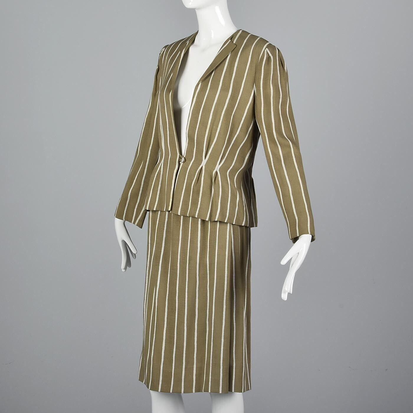 L Vintage 1980s 80s Pauline Trigere Striped Skirt… - image 2