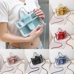 Women-Transparent-PVC-Plastic-Cross-body-Durable-Summer-Shoulder-Bag-Soild-Color