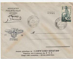 AEF-JOURNEE-PHILATELIQUE-L-039-ENTRAIDE-AVIATION-CACHET-DE-BRAZZAVILLE-DE-1944