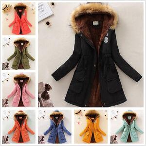 Womens Warm Long Coat Fur Collar Hooded Jacket Slim Winter