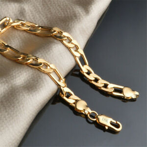 Men-Women-18K-8MM-Gold-Plated-Chain-Wedding-Chunky-Bracelet-Bangle-Jewelry-Charm