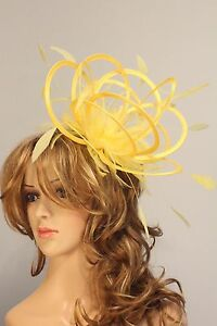 Image Is Loading Bright Yellow Amp Fascinator Hat Any Satin