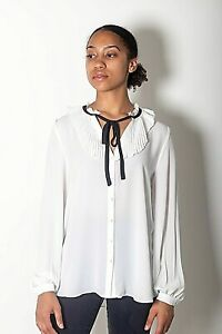 NEW-WOMENS-EX-RIVER-ISLAND-WHITE-WITH-BLACK-TIE-PLEATED-DETAIL-SHIRT-SIZE-6-14