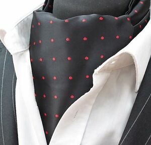 Cravate Ascot Noir Avec Tache Rouge Avec Assorties Mouchoir.-afficher Le Titre D'origine Prix RéDuctions