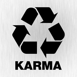 Karma Recycling Buddha Spaß Comedy Schwarz Auto Vinyl Decal
