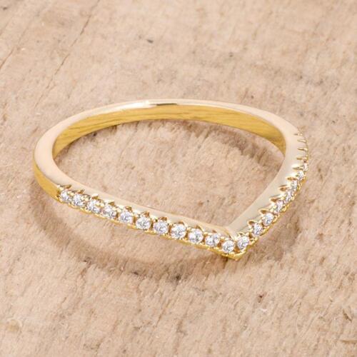Yellow Gold .22 TCW CZ Minimalist Geometric V Chevron Stackable Ring Size 5-10