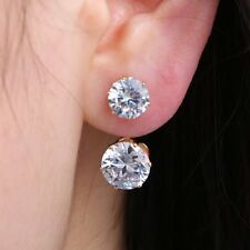 Fashion Lovely Women Girl Double Gold Crystal Round Stud Earrings Hoop Jewelry