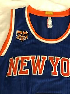 hot sale online fb36d cfe9a Details about 2016 70th Year Authentic Carmelo Anthony Adidas Knicks Pro  Cut Jersey Size XL 48
