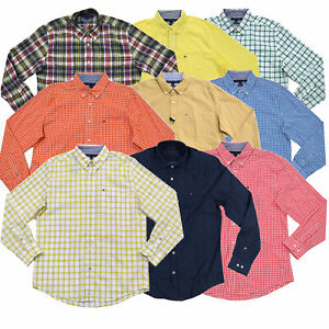 Tommy-Hilfiger-Mens-Shirt-Classic-Fit-Buttondown-Long-Sleeve-Plaid-Gingham-New
