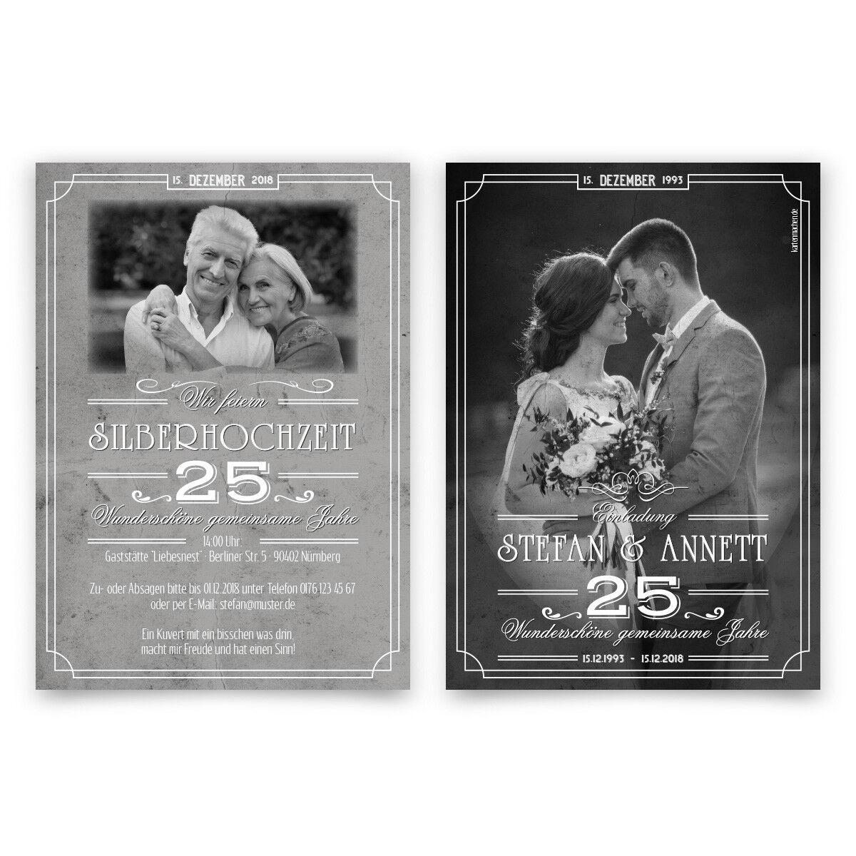 Hochzeitseinladungen Silberhochzeit silberne Hochzeit - 25 wundervolle Jahre   | Verkaufspreis  | Rich-pünktliche Lieferung