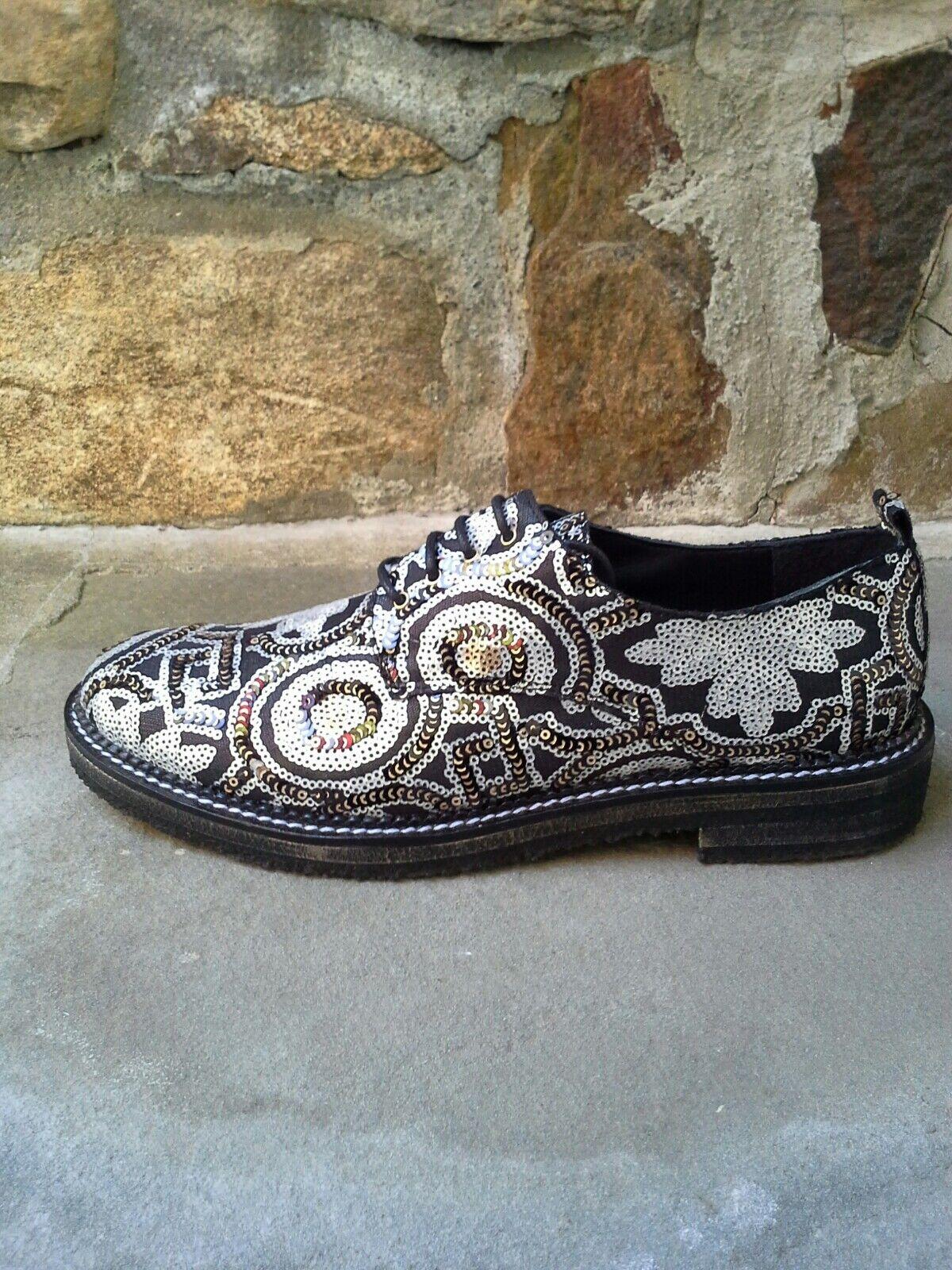 Miista Londres Oxfords Adornado Lentejuelas Negro Con Cordones Cordones Cordones Calzado Cómodo Talla 40  salida para la venta