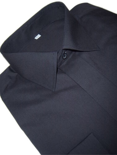 "BIG SIZE MENS BLACK SHIRT WEDDING DRESS DOUBLE CUFF SHIRT 17 1//2 19 20 /"" COLLAR"