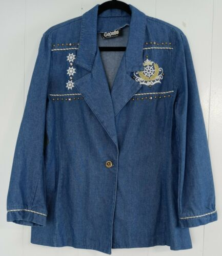 Gepetto Vintage 80s Denim Blazer L Gold Studs Embr