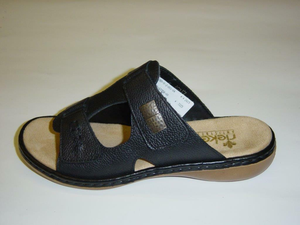 Rieker Pantoletten   black   Glattleder   Größe 37 41 42 (Sandaletten)