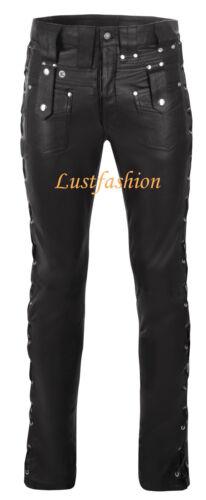 Up New Pantalon Jeans de Pantalon Black noir marque cuir en Cuir Lace en cuir Rivets I0wagT
