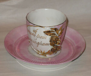 Antique-Souvenir-Birmingham-Cup-and-Saucer-Made-in-Germany-Pink-Gold-Alabama