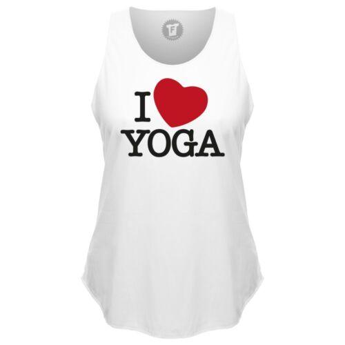 Fabtee-I Love yoga OM méditation loose tank top rond Bund sport shirt Femmes