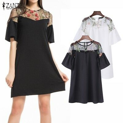 ZANZEA Summer Women Mesh Embroidery Patchwork Elegant O Neck Ruffles Mini Dress