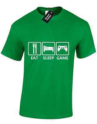 EAT SLEEP GAME MENS T SHIRT ARCADE ATARI NES TEAM WASD PAC MAN PRESENT NEW
