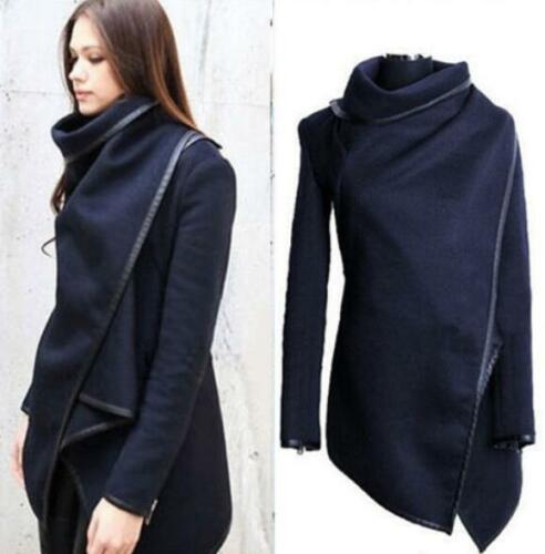 Women Slim Trench Waterfall Coat Wool Warm Long Outerwear Jacket Parka Overcoat@