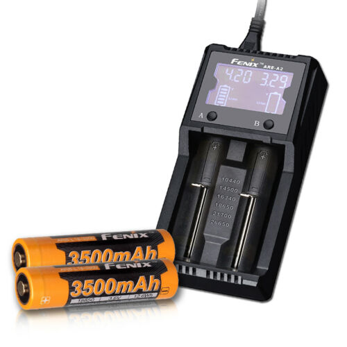 Fenix ARE-A2 2-Slot Battery Charger for 26650 & More + 2 Premium 18650 Batteries