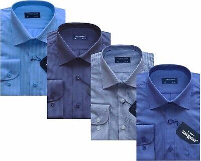 Mens Long Sleeve Yarn Dyed PolyCotton Stripe/Check Shirt 15.5-18 By Tom Hagan