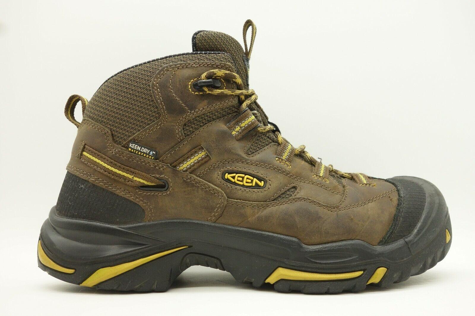 Keen USA Oregon Marrón Cuero Puntera De Acero De Parachoques Built Bota Zapato Para Hombre 11 2E Extra Ancho