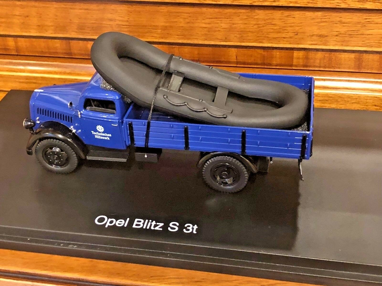 Schuco 1 43 Opel Blitz S 3t Technisches Hilfswerk Caoutchouc Bateau Objet  Shu0