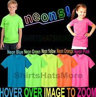 Youth Cotton Blend NEON T-Shirt Child Kids Boys Girls Sizes XS, S, M, L, XL NEW!