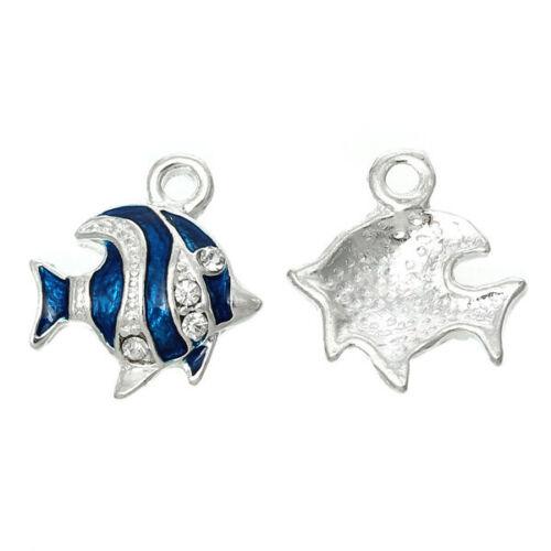 5Stücke Fisch Form mit Silber Strass Blau Eamaille Charms Anhänger Halskette H//J