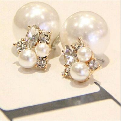 New Double Sided Gold Plated Crystal Ear Stud Earrings Big Pearl Jewelry